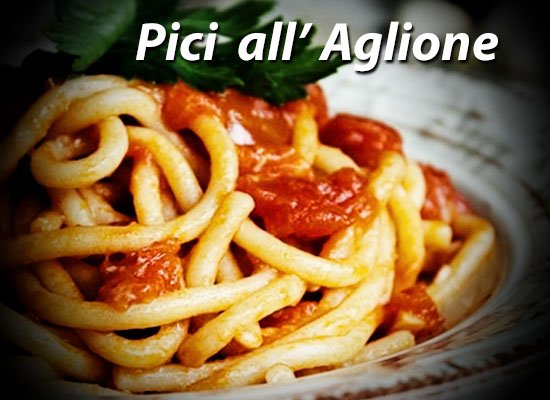 Pici all' Aglione a tomato sauce with lots of garlic
